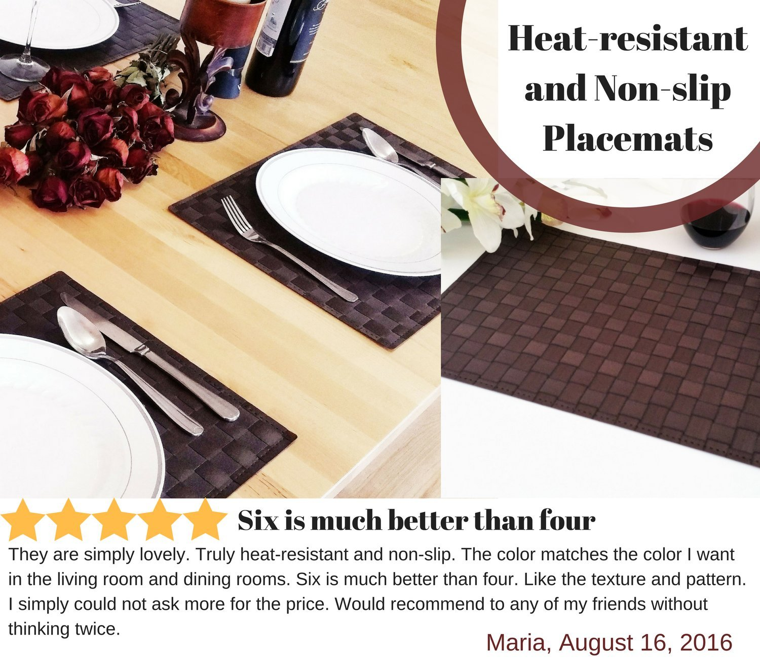 Amazon: Place Mats , Washable Table Mats , Heat Resistant , Nonslip  Placemat , Dining Placemats , Pvc Table Mat For Dining Table , Set Of 6  Vinyl