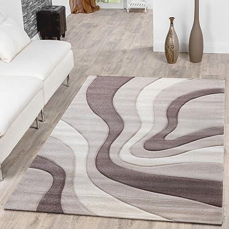 Tapis Design Moderne A Poils Courts Motif Vagues Couleur Creme