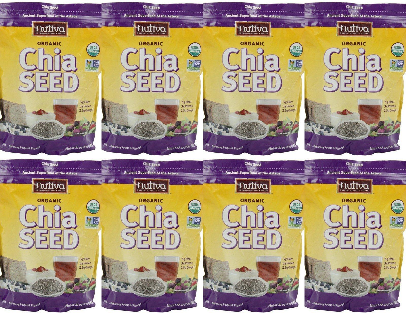 8 x 32oz Nutiva Organic Chia Seed (16 Pounds Total) Vital Nourishment Fiber Antioxidants Health