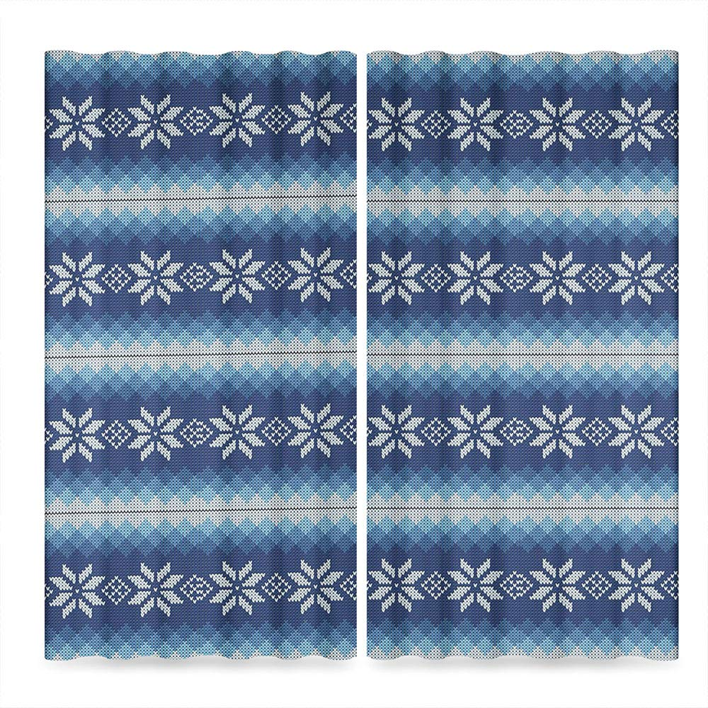TecBillion Door Curtain,Winter for Living Room,Traditional Scandinavian Needlework Inspired Pattern Jacquard Flakes Knitting Theme Decorative,196Wx104L Inches by TecBillion (Image #2)