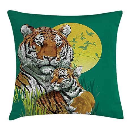 FPDecor Safari Decor Funda de Almohada, Tiger Family in ...