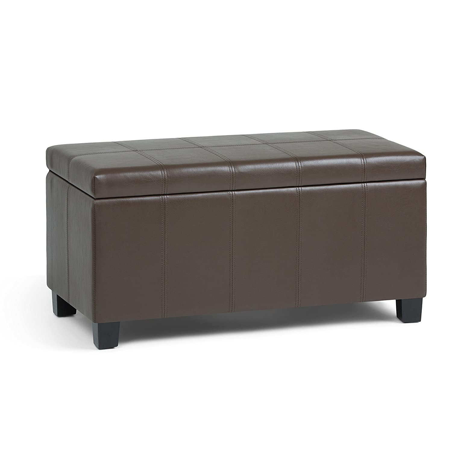 Simpli Home AXCOT-223-CBR Dover 36 inch Wide ContemporaryStorage Ottoman in Chocolate Brown Faux Leather