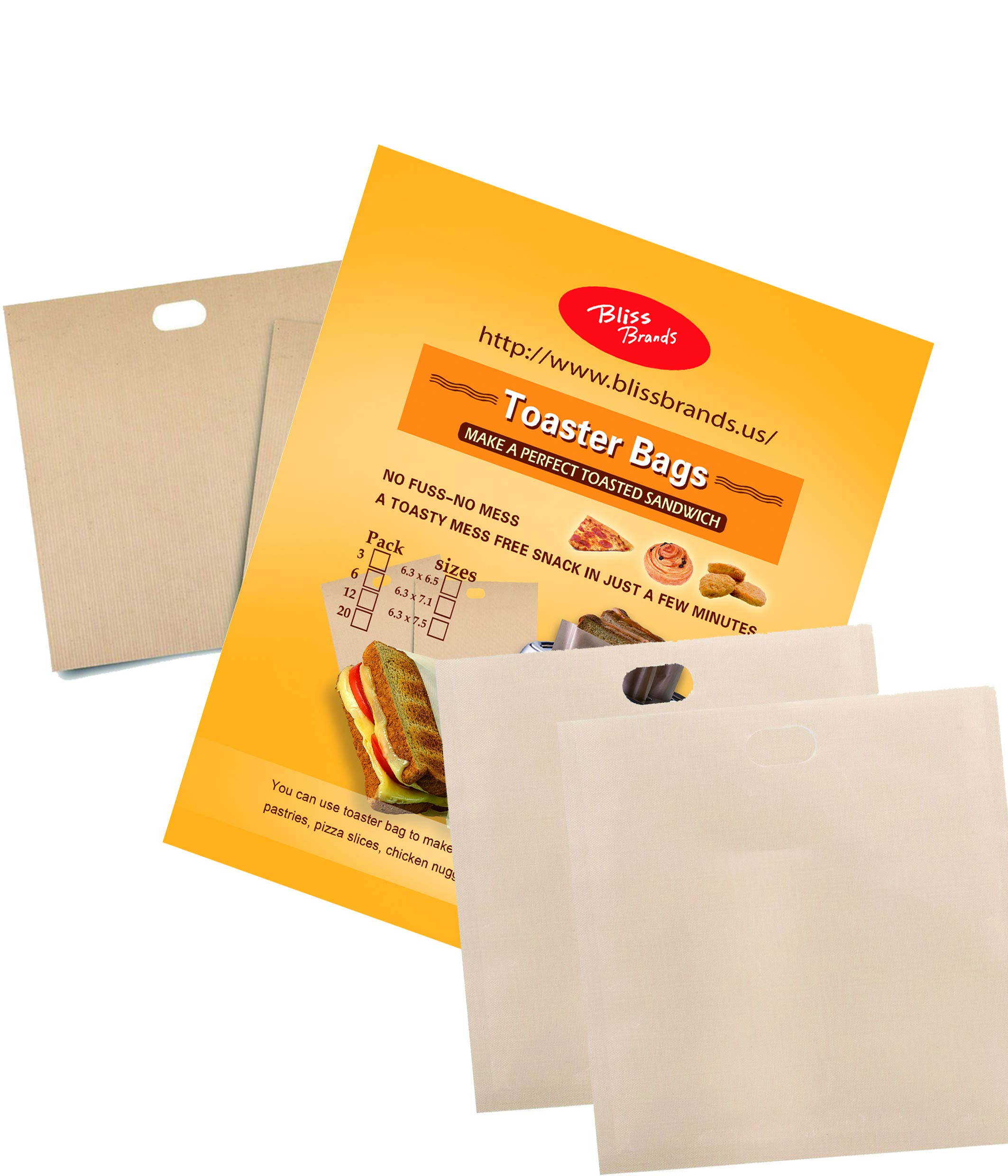 Reusable Toaster Bags: Non-Stick Sandwich Pouch 20 Pack - FDA Approved, BPA & Gluten Free Sleeve - Great for Grilled Cheese, Chicken Nuggets, Pizza Slices, Sausages, Panini, Pastries, Sandwiches by Bliss Brands