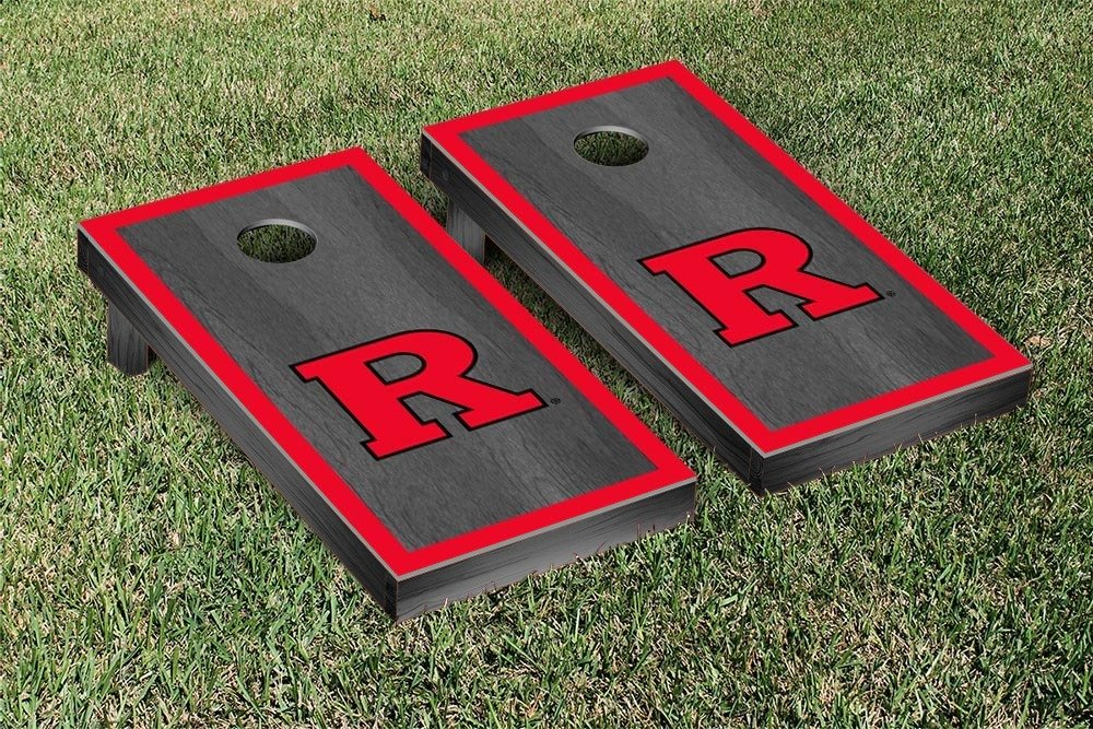 Victory Tailgate Hardwood Classics (Basketball) Rutgers University Scarlet Knights Onyx Stained Border Version Cornhole Game Set