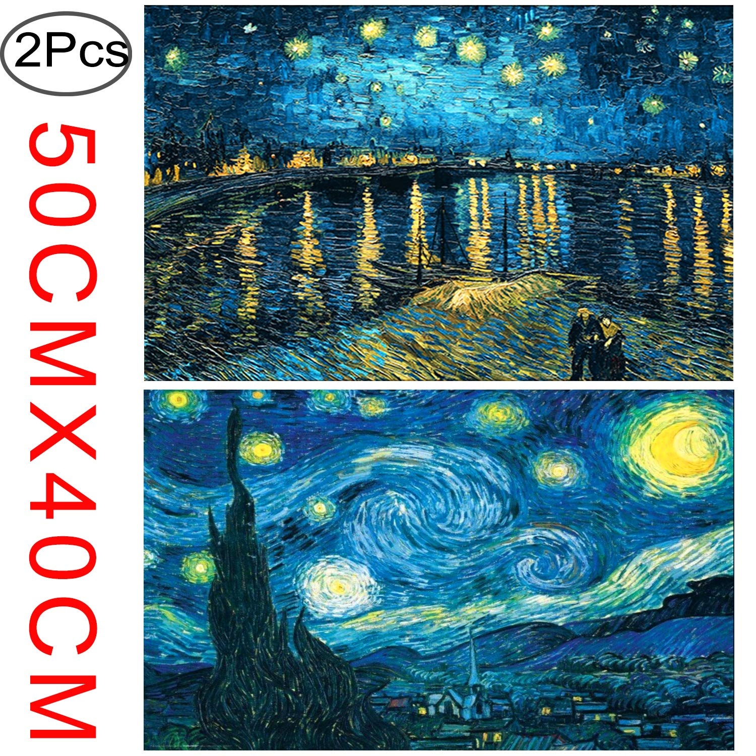 2 Pack 5D DIY Diamond Painting Full Drill Kit Starry Night 5D Full Diamond Embroidery Rhinestone Painting Kit 5D Decorating Wall Stickers, Starry Sky (50 × 40 cm) by Standie