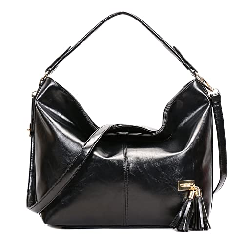 715ce85812a SIFINI Women Vintage PU leather Tote Bags Shoulder Bag Shopping Bag Handbag  (black)
