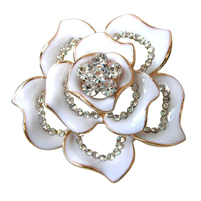 Vintage Style Jewelry, Retro Jewelry Navachi 18k Gold Plated Clear Crystal White Enamel Flower Az7433b Brooch Pin $9.95 AT vintagedancer.com