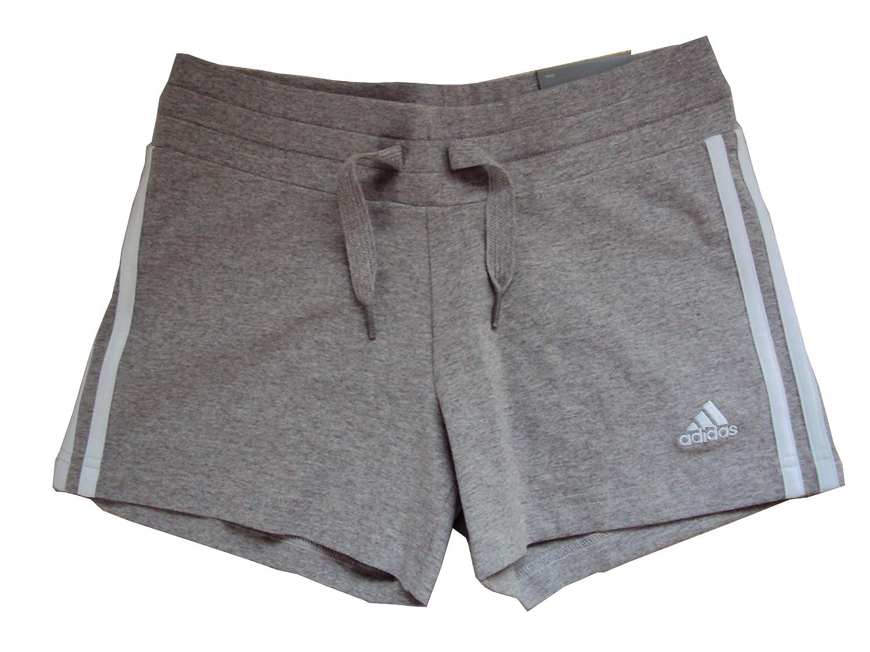 Adidas Ess 3s Knit Shorts Damen Shorts 3stripes Hotpants Sporthosen  Jogginghosen Freizeithosen Turnhosen Trainingshosen Performance Essentials  Frauen grau ...
