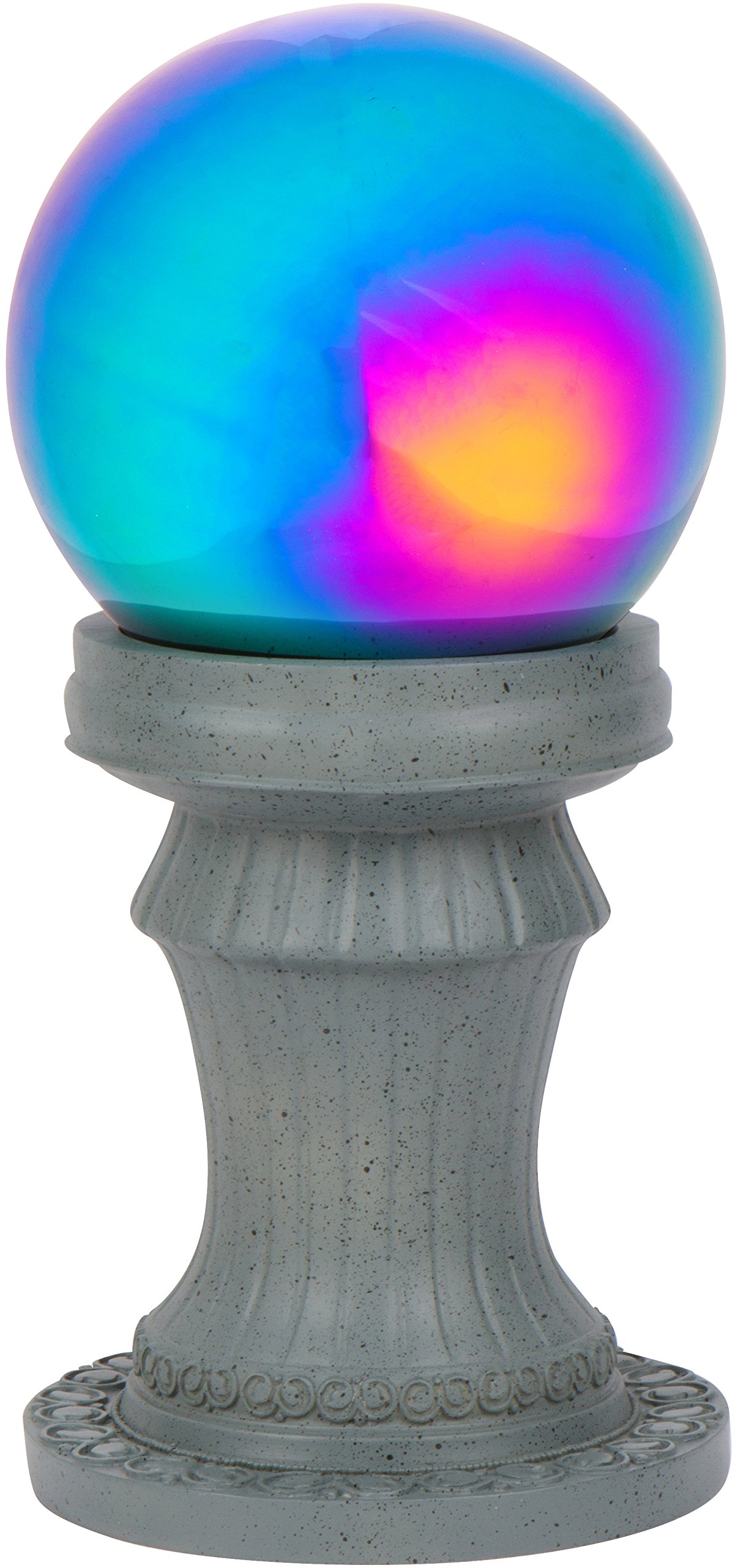11.5'' Pedestal Gazing Ball Stand (Resin) & 8'' Gazing Ball (Rainbow) by Trademark Innovations