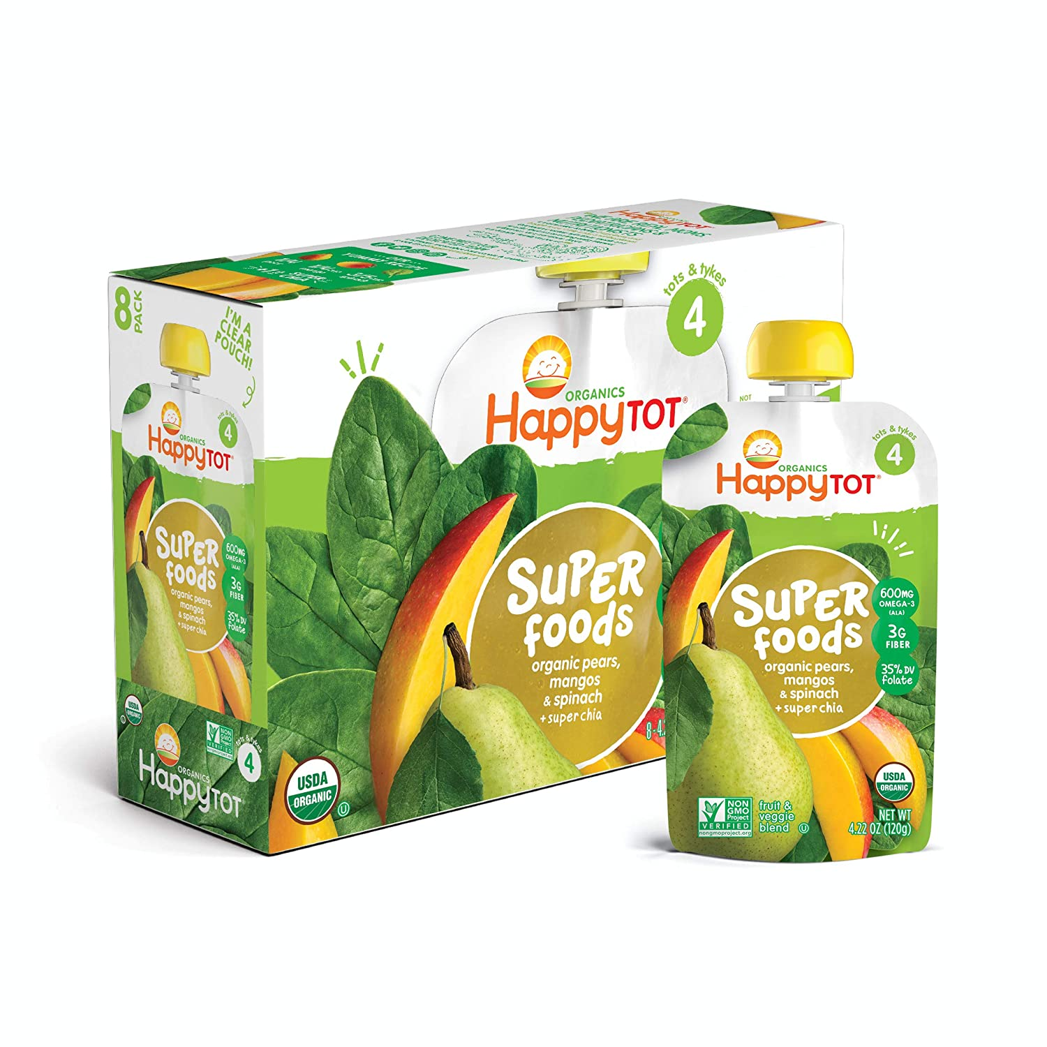 Happy Tot Organic Stage 4 Super Foods, Pears, Mangos and Spinach + Super Chia, 4.22 Ounce, (Pack of 8)