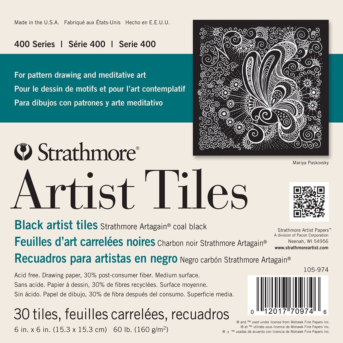 30 Sheets Strathmore 105-974 400 Series Artagain Artist Tiles Coal Black 6x6