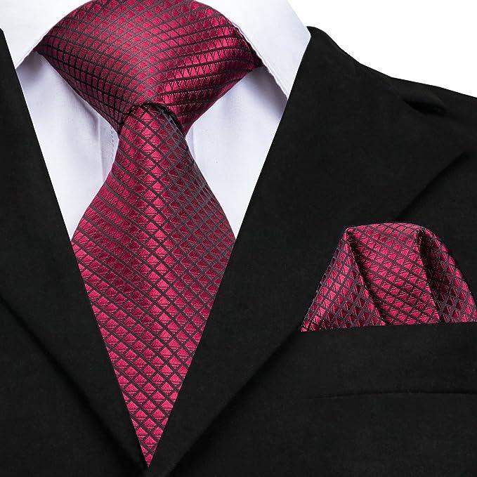 Hi-Tie Cravatta classica da uomo con gemelli e pochette  Amazon.it   Abbigliamento 17009ad8613