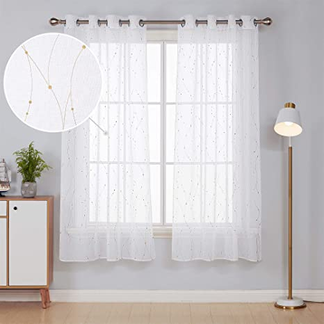 Deconovo Home Decoration Gold Dotted Line Foil Printed Voile Net Curtains Sheer Curtains Eyelet Sheer Voile Curtains for Bedroom with 55 x 71 Inch White Two Panels