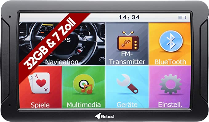 Elebest City 80 Navigationsgerät Navi 32 Gb Speicher 17 8cm 7 Zoll Display Topaktuellem Karten Und Radarwarner Für Pkw Lkw Wohnmobil Gps Navigation Fahrspurassistent Bluetooth Navigation