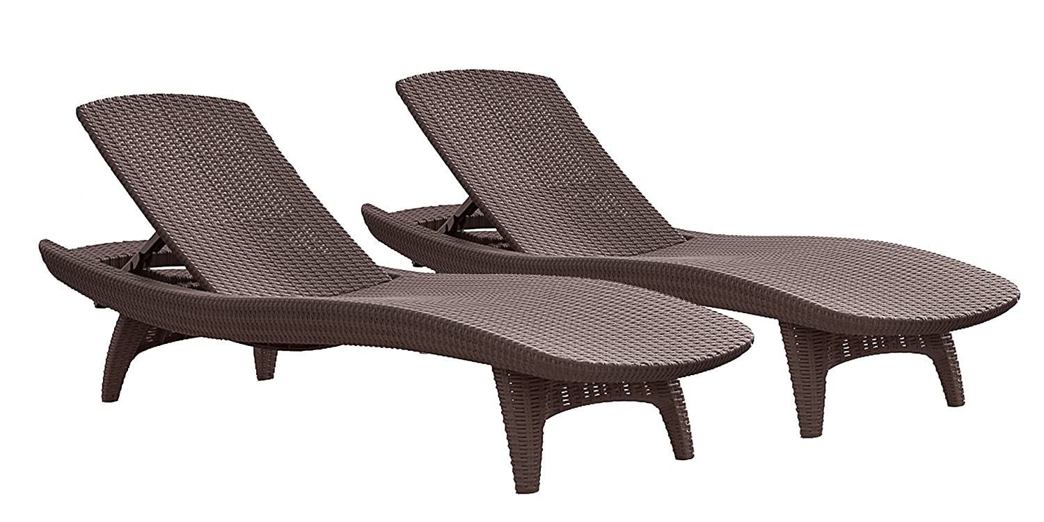 amazoncom keter pacific 2 pack all weather adjustable outdoor patio chaise lounge furniture brown patio lounge chairs garden outdoor - Garden Furniture Loungers