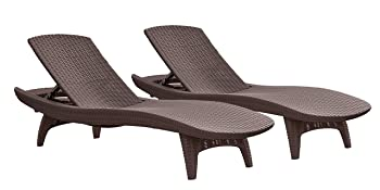 Keter Pacific Sun Lounge Outdoor Chaise Pool Chairs