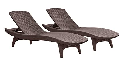Great Keter Pacific 2 Pack All Weather Adjustable Outdoor Patio Chaise Lounge  Furniture, Brown