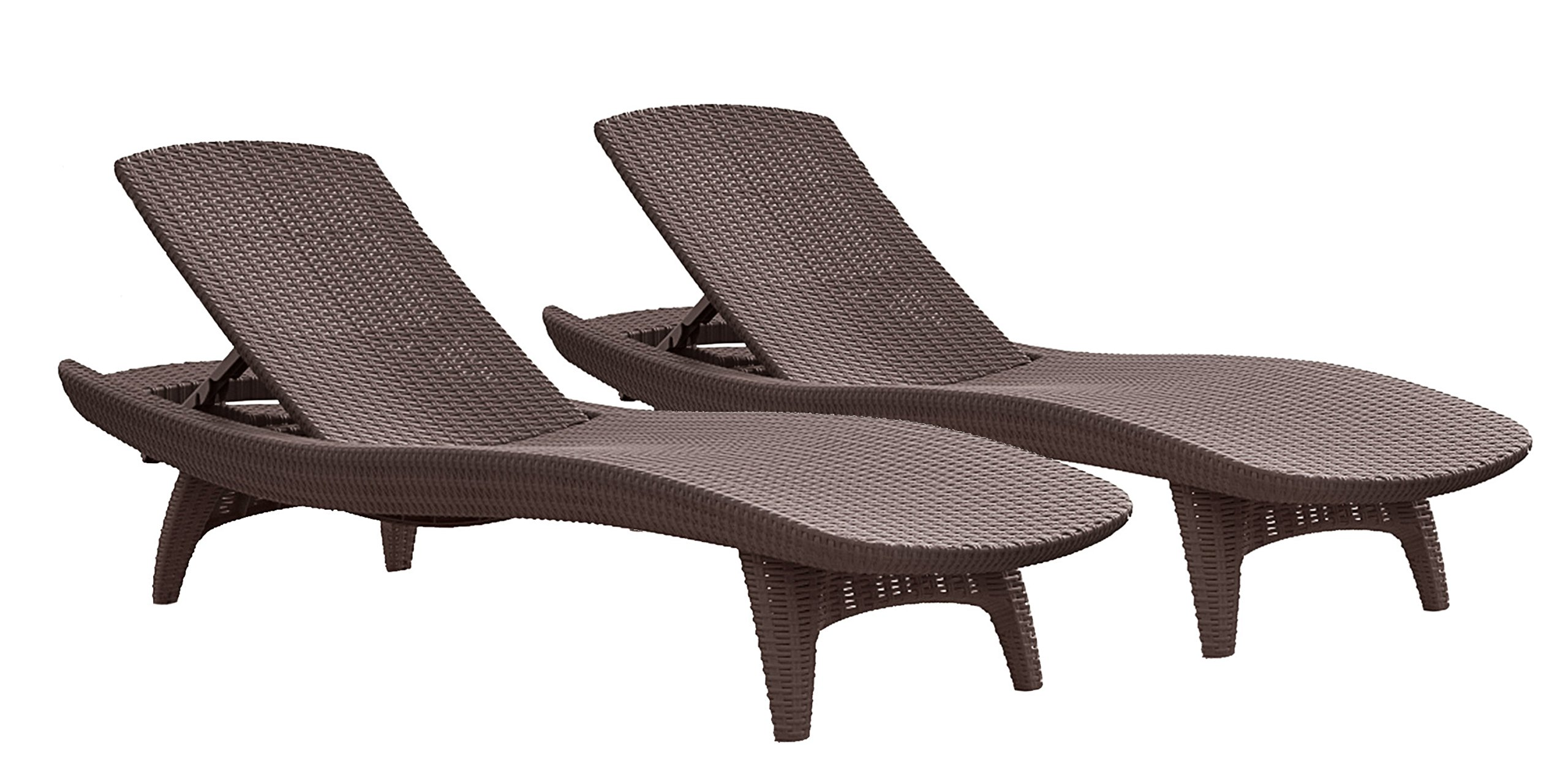 Keter Set Of 2 Pacific Sun Lounge Outdoor Chaise Pool Chairs With Resin Rattan Look And Adjustable Back Brown Buy Online In Congo At Congo Desertcart Com Productid 70401653