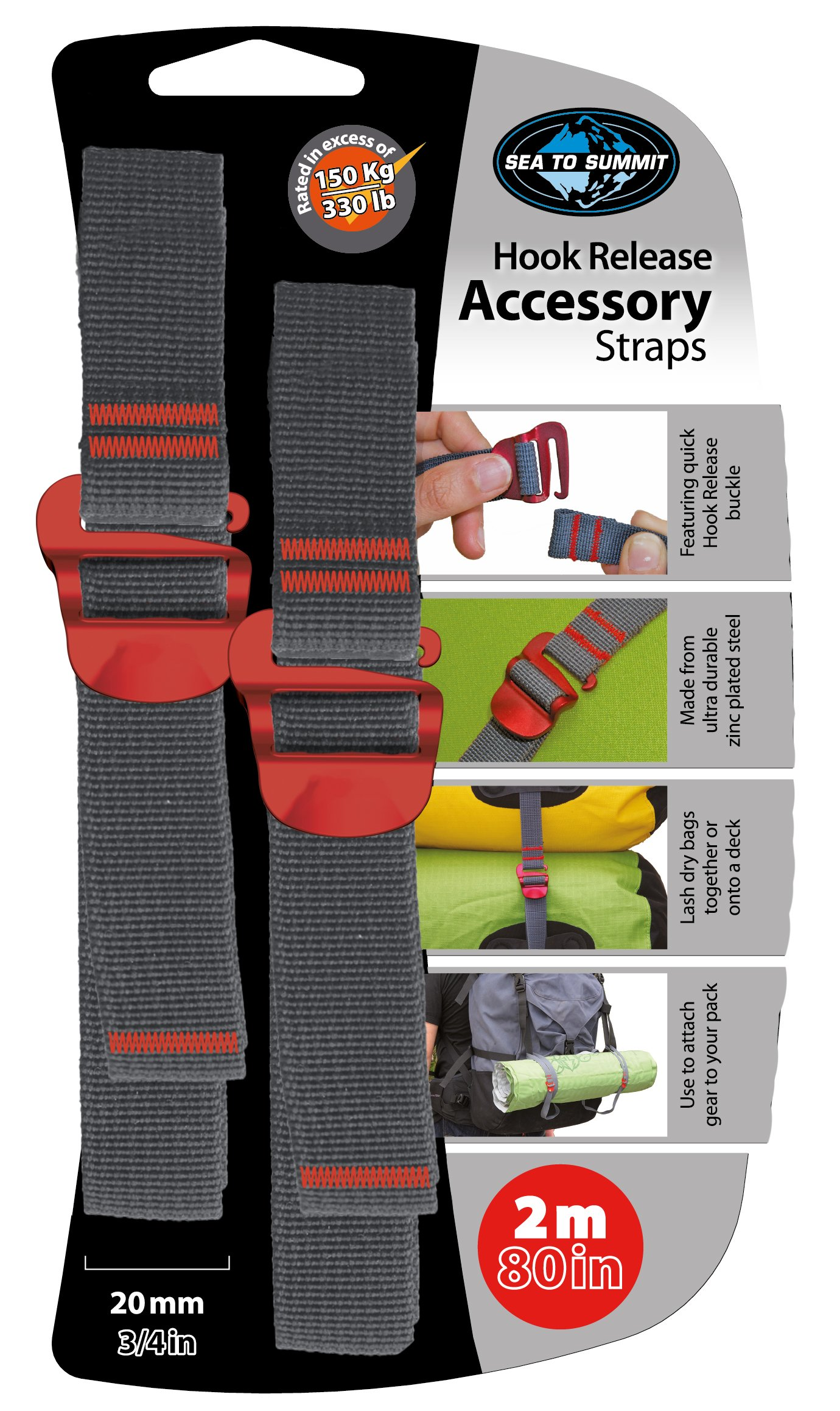 Sea to Summit Accessory Strap with Hook Release - pair (20MM / 3/4'' Webbing by 2M Long) - Color May Vary