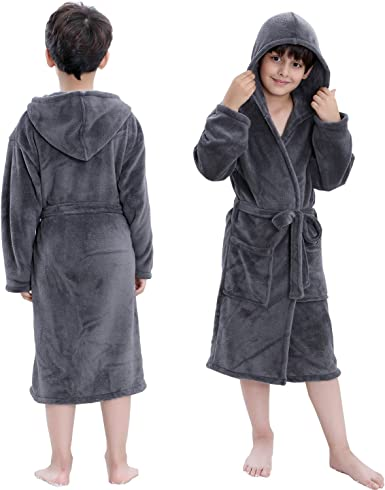 Hooded Herringbone Boys Fleece Grey Soft Spa Kimono Long Robe,Kids Comfy Sleepwear Bathrobe