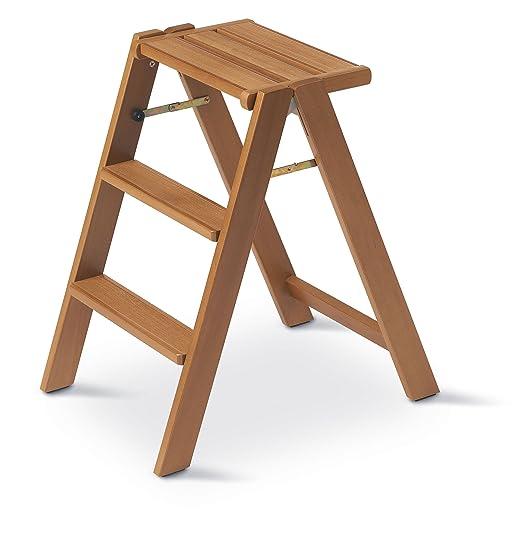 Arredamenti Italia Escalera doméstica OSIMO de madera - 3 peldaños - Plegable - Color
