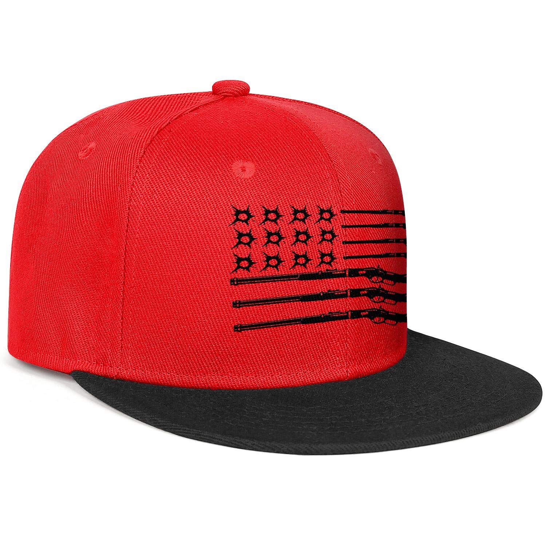 KYTKYTT Unisex Mesh Snapback Caps Bifle Bullet American Flag Brim Hip Hop Baseball Hat