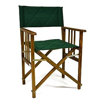 DIVERO - Silla plegable tipo director (madera de acacia ...