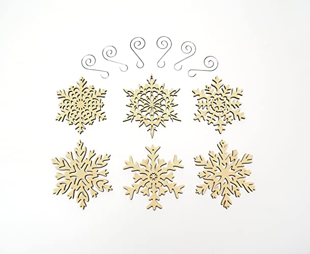 Amazoncom Intricate Wooden Snowflake Ornaments Set Of 6 Large