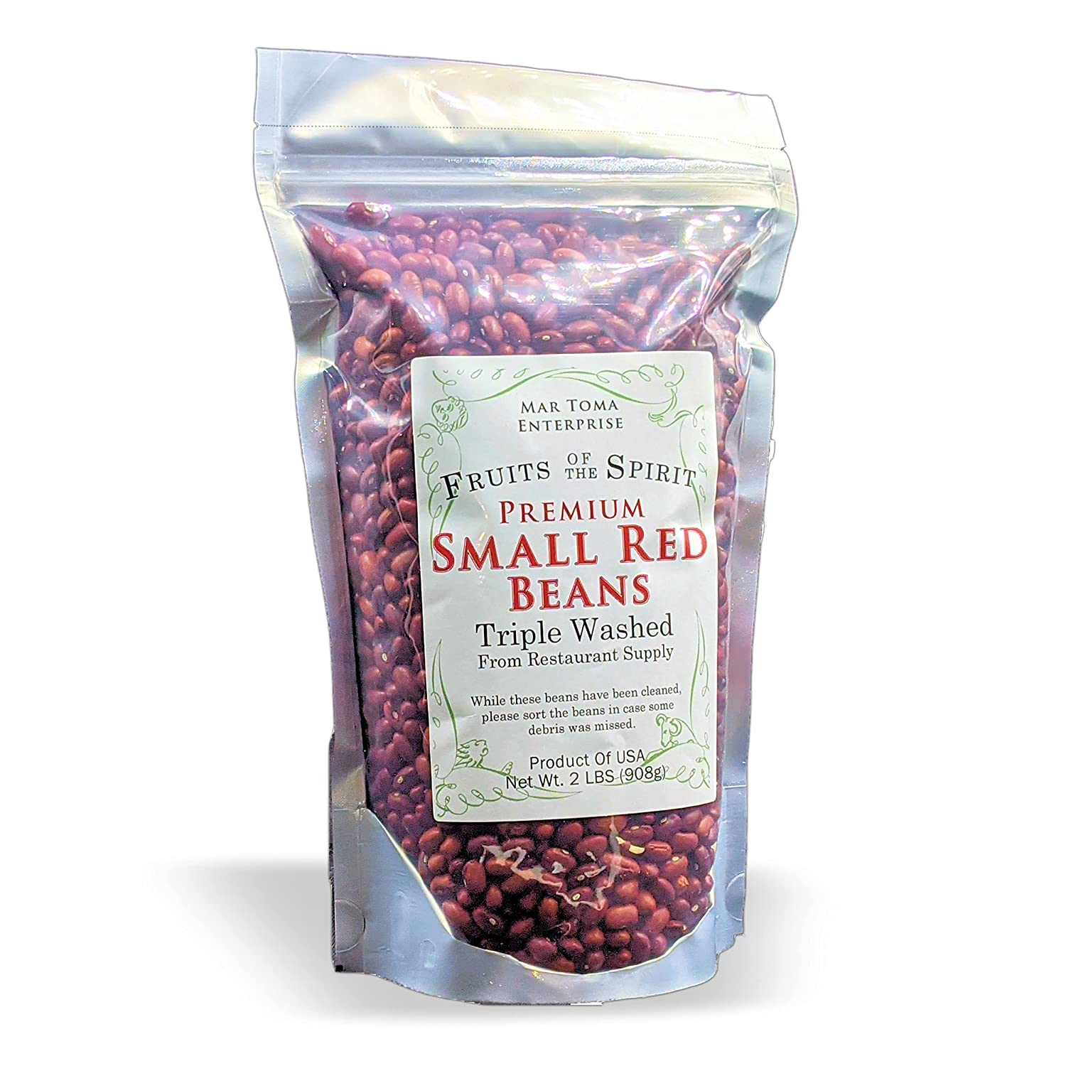 FOTS Small Red Beans Dry- 2 Pounds, Great For Louisiana Style Red Beans And Rice, Jambalaya, Creole, Baked Beans, Fruits Of The Spirit Brand