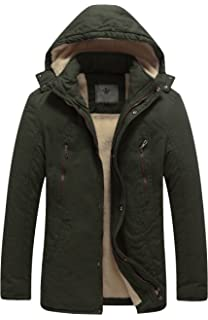 WenVen Men s Cotton Heavy Sherpa Lined Hooded Parka Jacket at Amazon ... 196cb2fa755
