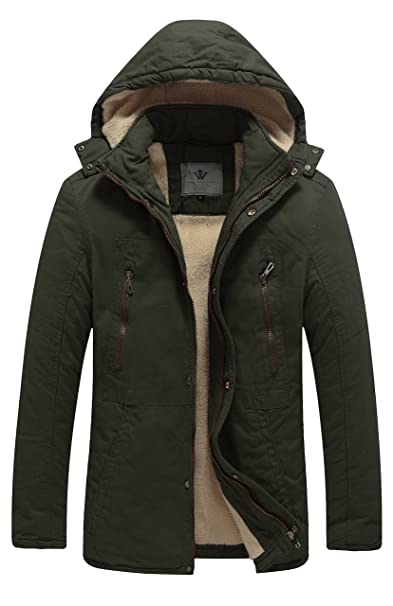 WenVen Mens Winter Washed Cotton Sherpa Lined Parka Jacket
