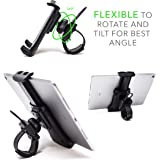 Pro Phone / Ipad / Tablet Exercise Bicycle Accessories - Holder for stationary bike, cycling, treadmill, elliptical, spinning machine. Secure mini cycling mount clamp for Iphone / Ipad on ANY machine