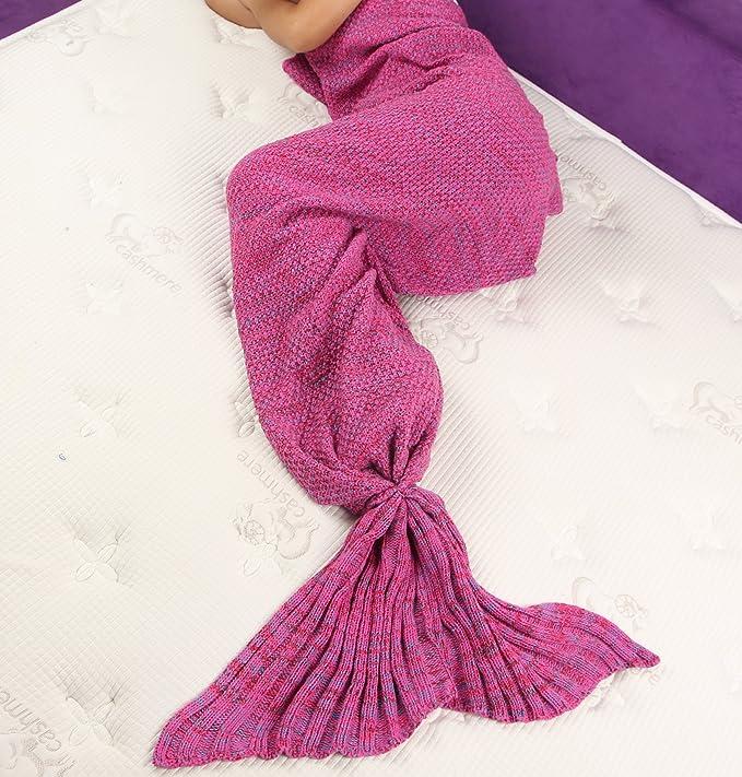 Yier® Sirena de cola de ganchillo manta para Adultos Adolescentes salón sofá super suave Mantas Sacos de dormir-Rosa