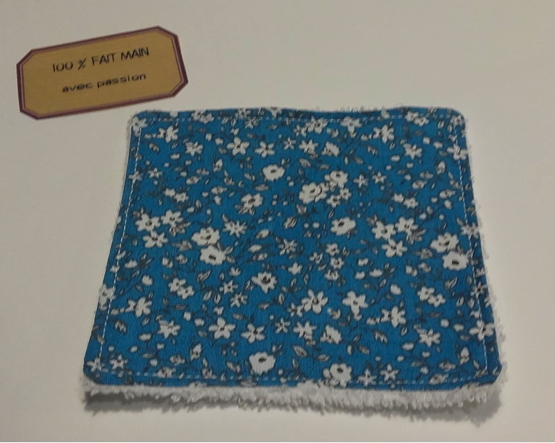 Lingette lavable bébé & maman Fleur bleue