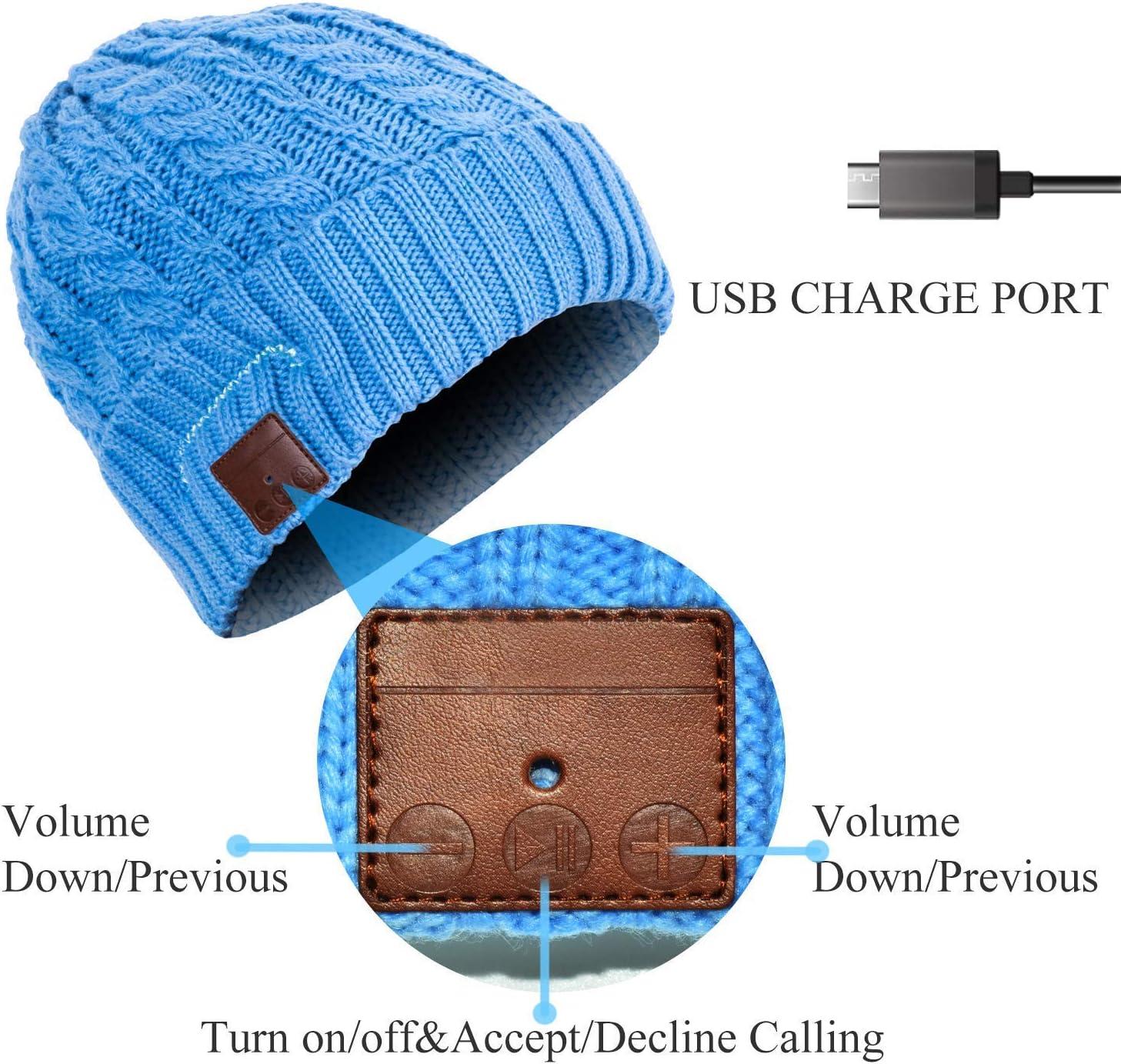 Blu scuro JIANYIJIA Cuffie Cappello,Senza Fili Bluetooth Auricolare Cappello musicale Cappello Smart Inverno Berretto lavorato a maglia con auricolari stereo e microfono integrato
