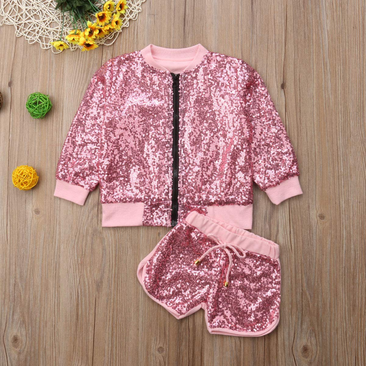 Mubineo Toddler Baby Girl Kids Fall Jacket Outfits Sequin Zipper Tops Shorts Clothes Set