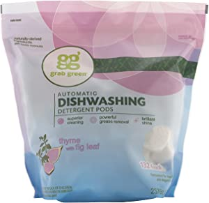 Grab Green Natural Dishwasher Detergent Pods, Thyme + Fig Leaf-With Essential Oils, 132 Count, Organic Enzyme-Powered, Plant & Mineral-Based