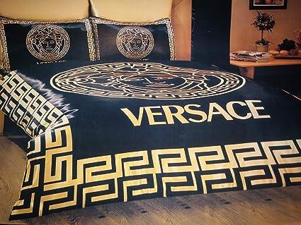 21faa447 Versace Satin 6 Pcs!! Queen Size Duvet Cover Set Bedding Linens Black & Gold