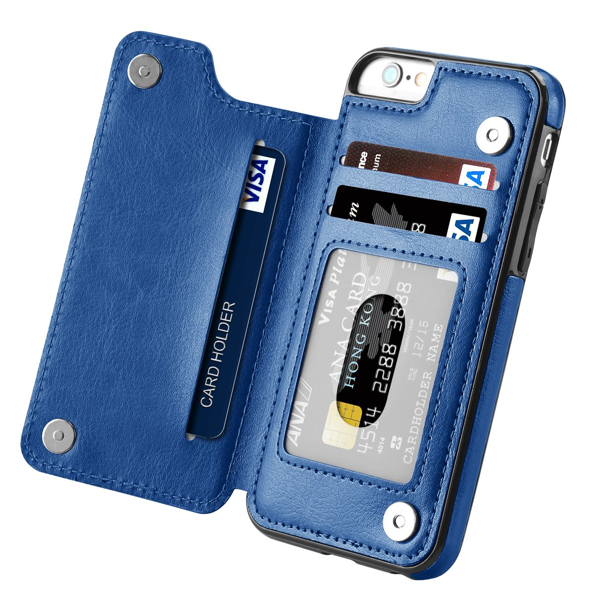 iPhone 6s Case, iPhone 6 Case, Hoofur Slim Fit Premium Leather iPhone 6 Wallet Casae Card Slots Shockproof Folio Flip Protective Defender Shell for Apple iPhone 6/6s (4.7 Inch) (Blue)