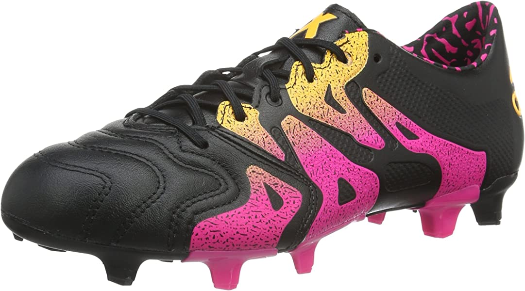 138fff75f X 15.1 FG AG Leather Mens Football Boots Soccer Cleats (Black (Core Black Shock  Pink Solar Gold AQ5791). Back. Double-tap to zoom
