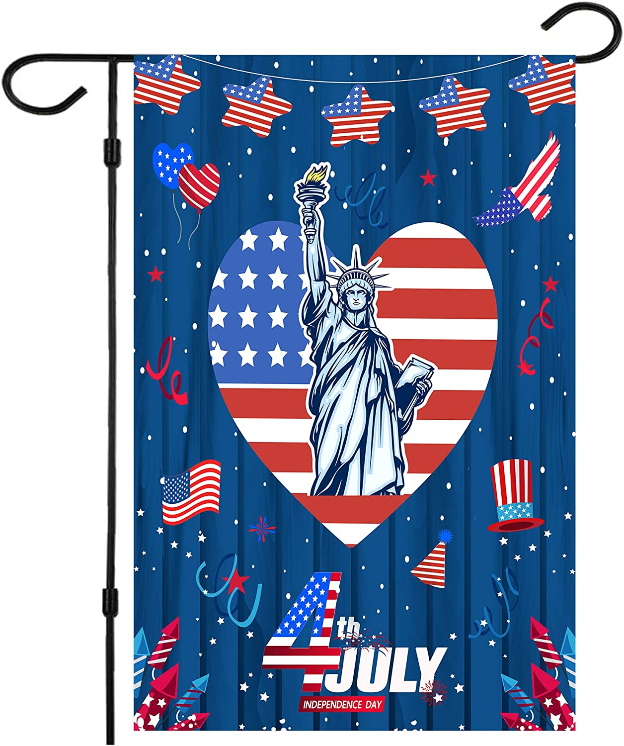 Happy 4th of July Garden Flags,Double Sided 4th of July Independence Day Flag Yard Decorations Memorial Patriotic Star Statue of Liberty House Flag 12 x 18 Inch American Holiday USA Seasonal Flags
