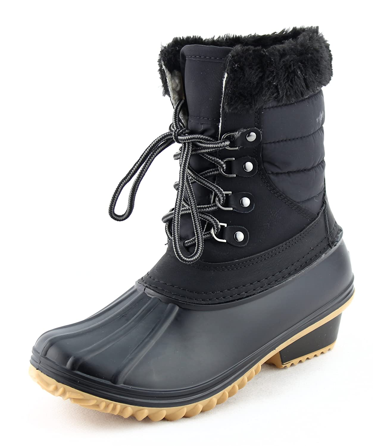 CALICO KIKI Women's Lace Up Warm Water Resistant Fur Padded Winter Snow Duck Boots B078KHHFMD 8 B(M) US|Black
