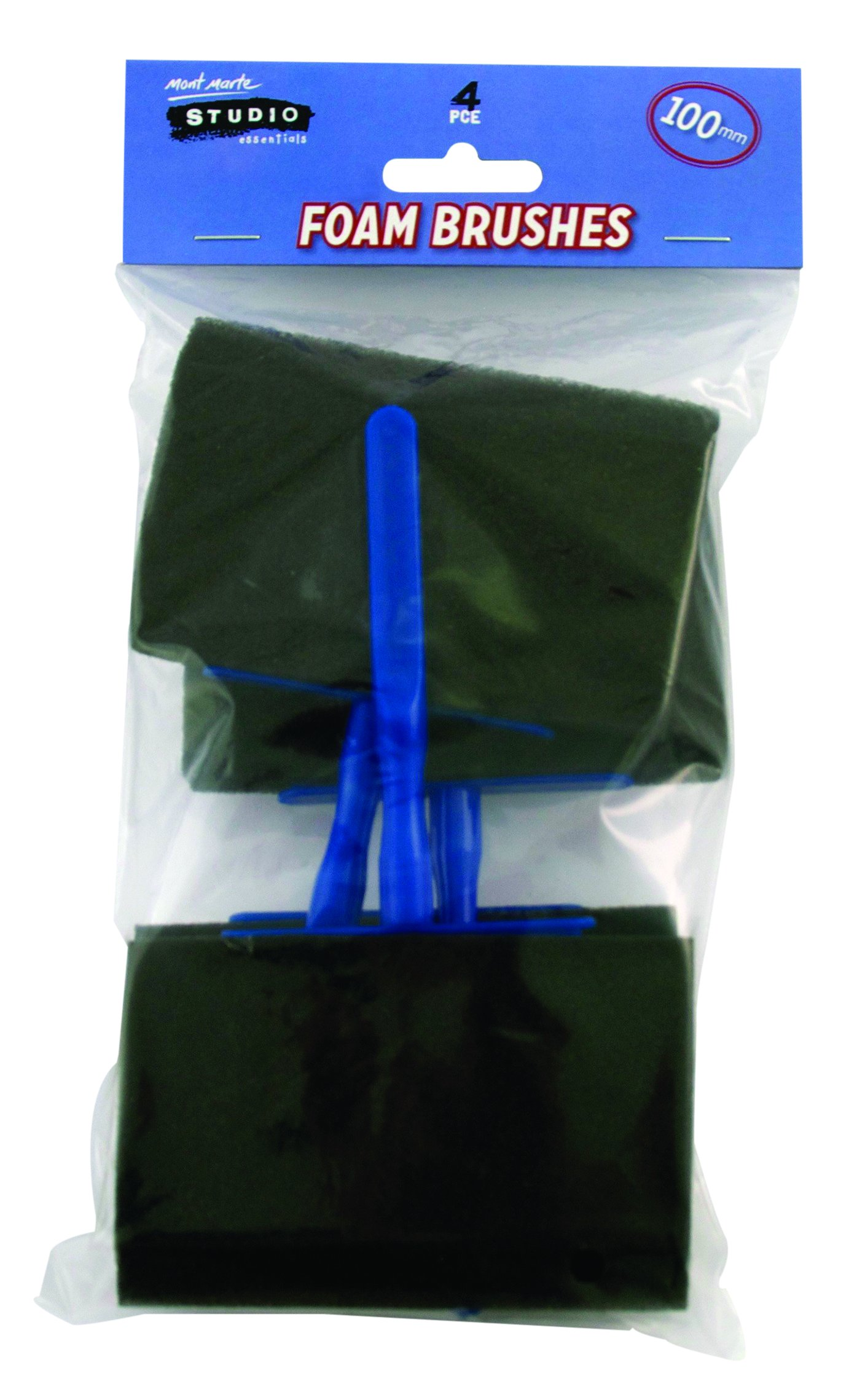 Mont Marte Foam Hobby Brush 100mm 4pce Poly Bag by Mont Marte