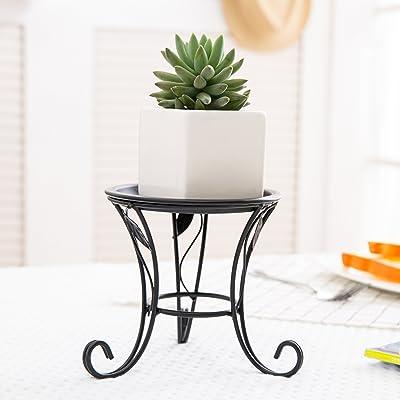 5-Inch Black Iron Scrollwork Design Desktop Plant Stand, Tabletop Pillar Candleholder : Garden & Outdoor