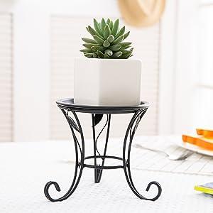 5-Inch Black Iron Scrollwork Design Desktop Plant Stand, Tabletop Pillar Candleholder
