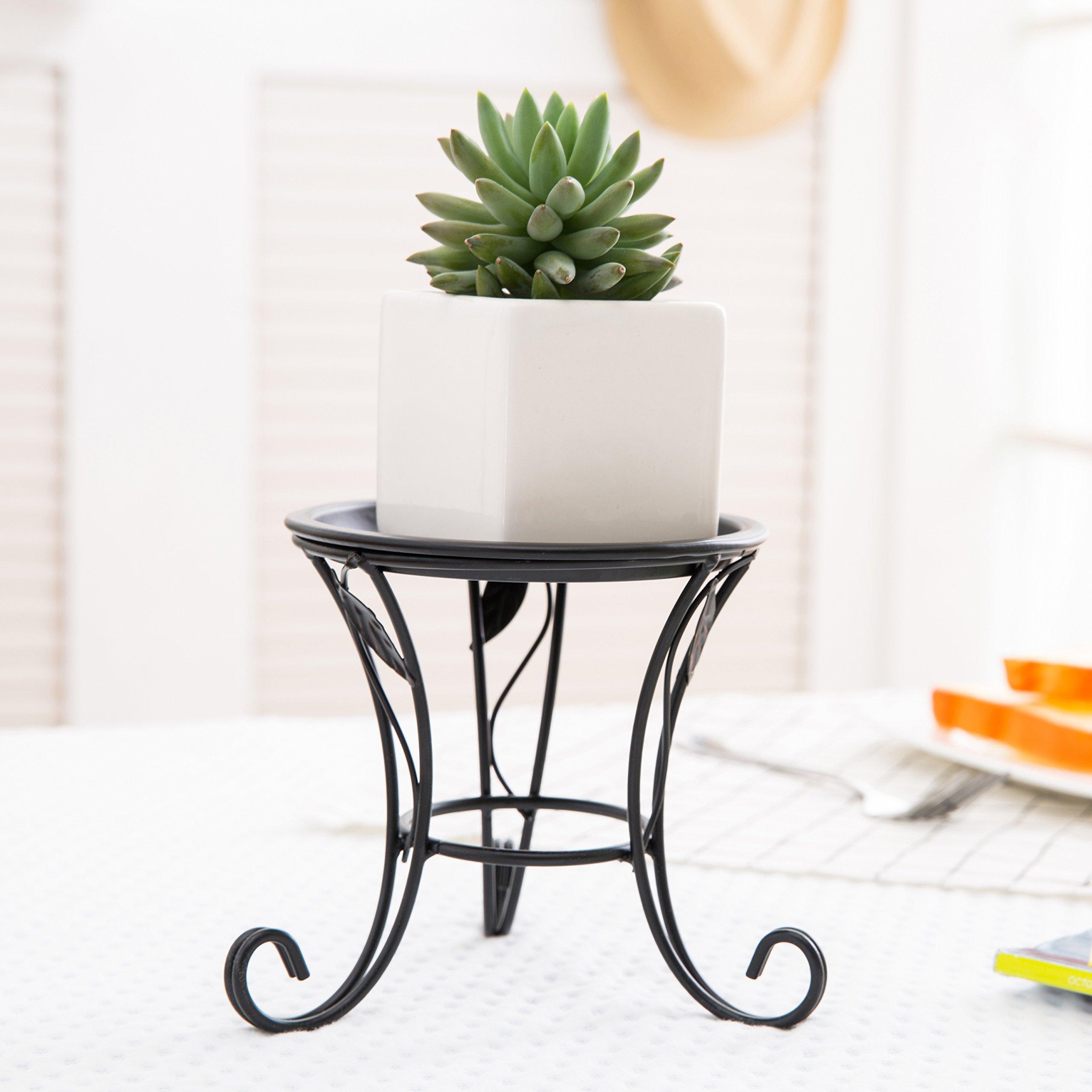 5-Inch Black Iron Scrollwork Design Desktop Plant Stand, Tabletop Pillar Candleholder by MyGift