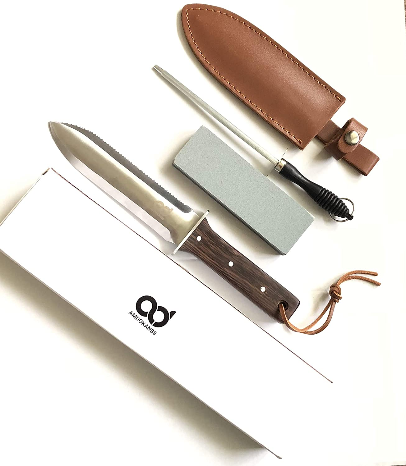Amdokan88 Digging Knife with Leather Sheath Stainless Steel Sharpener Rod Serrated and Sharp Edges Camping Weeding Hori Hori Knife Full Tang Hardwood Ergonomic Handle (Dark Brown)