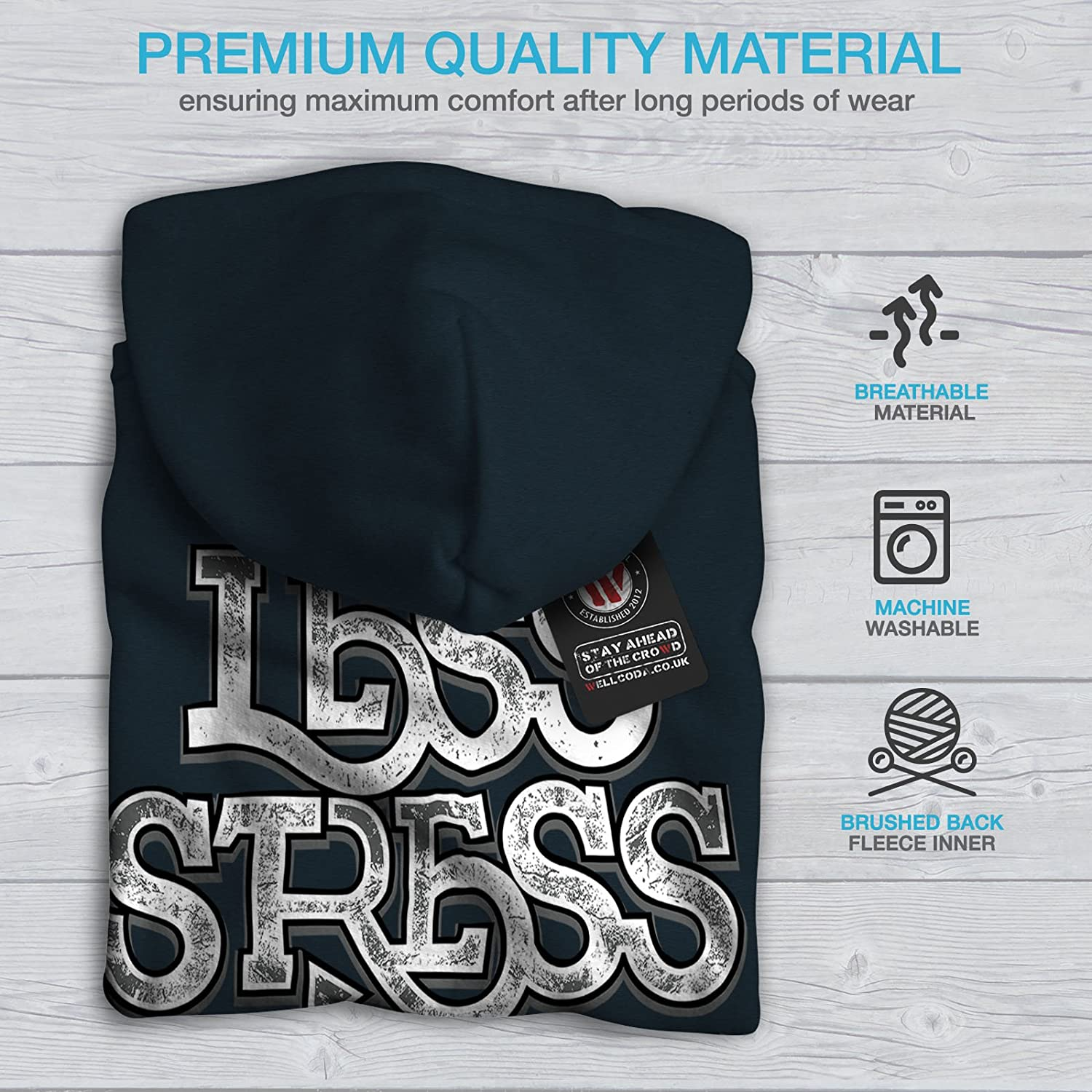 Fun Printed on The Jumpers Back wellcoda Less Stress More Sex Mens Hoodie