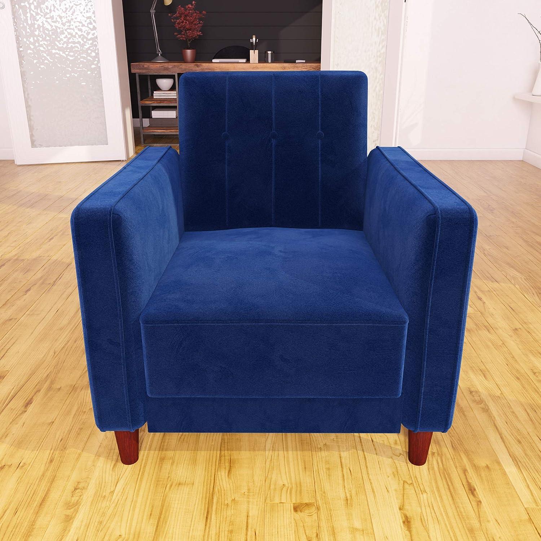 Amazon com dhp dz74646 ivana accent chair blue velvet kitchen dining