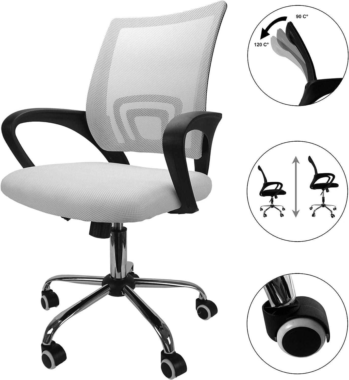 Cepewa - Silla de oficina ergonómica con soporte lumbar, con reposabrazos y función basculante, con función de inclinación y altura regulable